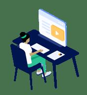 Instructional designer using video in educational platform