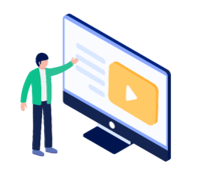Teacher using video in live classroom illustration