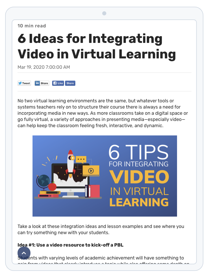 Video in Virtual Learning Resource